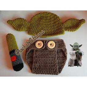 Gorro, Pañalero Y Espada Yoda Crochet Star Wars