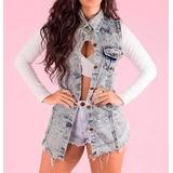 Maxi Colete Jeans Comprido Inverno Roupas Femininas