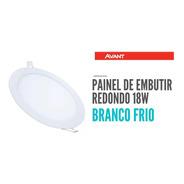Painel Plafon Embutir Led 18w Avant Redondo Branco Frio