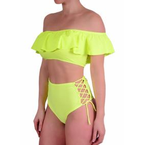 Bikini Top Con Volados Y Taza Soft Culotte Tiro Alto Tout