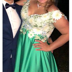 Vestido De Guipiur Y Raso Moderno Verde Soñado