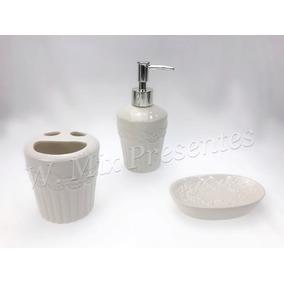 Kit Para Banheiro - 3 Peças Cerâmica Wincy