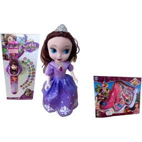 Boneca Infantil Princesinha Sofia Disney + Relógio Maquiagem