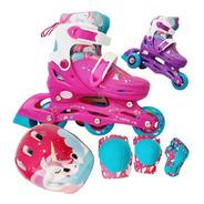 Rollers Patin 2 En 1 Extensibles Unicornio +proteccion Casco