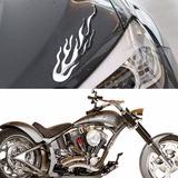 3d Adesivo Carro Moto Notebook Chama Fogo Prata Fretegrátis