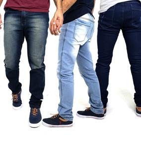 Kit Com 3 Calças Jeans Masculinas Com Lycra