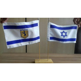 Bandeira Dupla Israel E Jerusalém - De Mesa - Made Israel