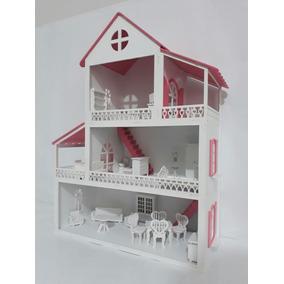 Casa Casinha De Boneca Polly Com Kit Móveis Pintados Mdf