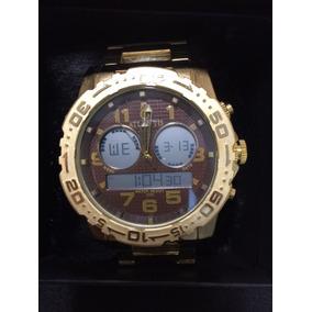 Relógio Masculino Atlantis Sport A3228 Dourado Fundo Marrom