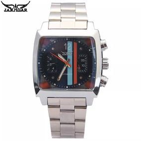 Relógio Masculino Quadrado Aço Inox Jaragar 8132 Prata