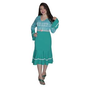 Vestido Moda Evangélica Sino 2 Babado Vivo Com Renda 00233