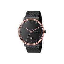 Relógio Skagen Ancher Black Stainless Steel Mesh Bracelet