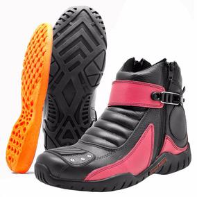 Bota Motociclista Coturno Atron Shoes Pink Cod 271