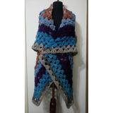 Ruana Chaleco Manto 3 Prendas En 1 Tejida Crochet Pura Lana