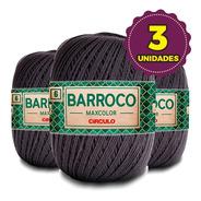 Barbante Barroco Maxcolor 400g N6 8323 Cinza Onix Kit 3