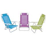 Kit 3 Cadeiras De Praia Aluminio Sol De Verão Fashion - Mor