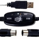 Cabo Adaptador Interface Audio Midi Usb In Out Conversor Som