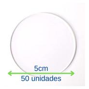 Base Redonda Acrílica 50 Peças Para Biscuit 5cm