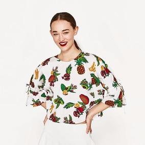 Blusa Cuerpo Popelin Estampado Marca Zara
