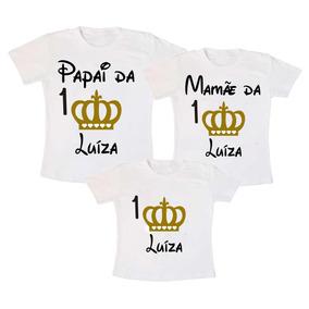 Kit 3 Camiseta Princesa Realeza Aniversário Infantil Festas