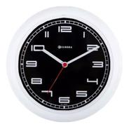 Relógio De Parede Eurora Cozinha Branco Fundo Preto 6521
