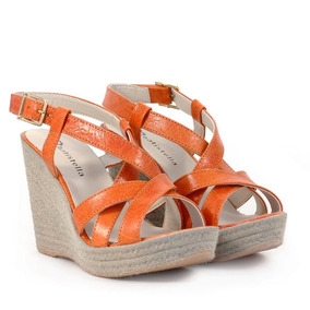 Sandalias De Mujer De Cuero Naranja Taco Chino Batistella