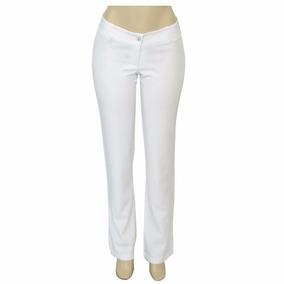 Calça Social Feminina Branca Tecido Gabardine Farmácia Odont