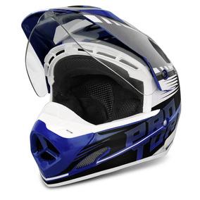 Capacete Motocross Pro Tork Th1 Vision Adventure Azul Branco