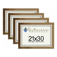 Kit 4 Molduras Porta Diploma Certificado A4 21x30 Dourado