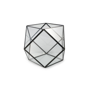 Portavela Recipiente Hexagonal Vidrio Bordes Metal Negros