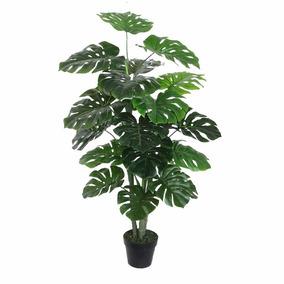 Planta Artificial Folhas Verdes Grandes E Largas 120cm