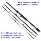 Vara Pesca De Praia 3,00m P/ Carretilha Em 4 Partes Tx