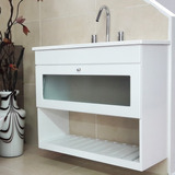 Vanitory Colgante Blanco Laqueado 80cm + Bacha Mesada P/baño