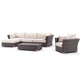 Sofá + Chaise + Poltrona Em Fibra Sintética Promoçâo 12x