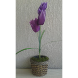 Arranjo De Flores Artificiais-tulipa Roxa- 55 Cm