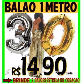 Balao Numero Big Size(1 Metro)dourado Flutua Gas Helio