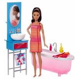 Muñeca Barbie Con Baño Accesorios Muebles Coleccion 2017 Mat