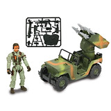 Jeep De Guerra Con Lanzamisiles Y Soldado Tipo Gijoe + Armas