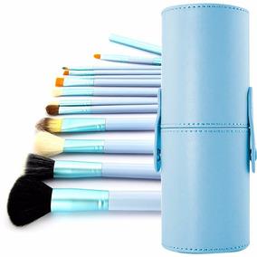 Kit Com 12 Pincéis Cerdas Naturais + Case Azul