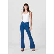 Calça Feminina Flare Cintura Alta Jeans Com Algodão Elastano