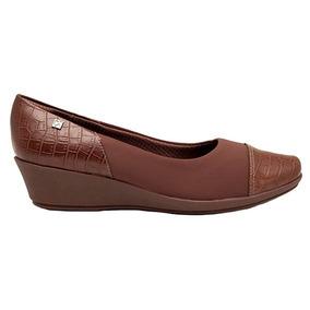 Zapato Taco Chino Mujer Piccadilly Tela/ Eco Cuero Marrón
