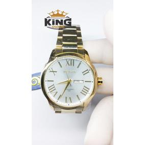 Relógio Pulso Masculino Dourado Ref G3402 Original