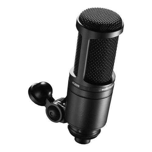 Micrófono con accesorios Audio-Technica AT2020 condensador cardioide negro