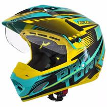 Capacete Moto Offroad C/ Viseira Th1 Adventure Verde Amarelo