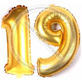 Balão Metalizado Número Dourado Aniversário 19anos 2pcs 40cm