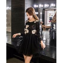 Vestido Encaje Fashion Manga Larga Floral Fiesta Party Negro