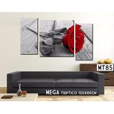 Cuadro Mega Triptico 150x80cm Moderno Flores