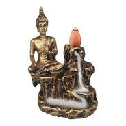 Incensario Buda Hindu Da Paz Cascata Cachoeira Resina Ouro