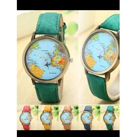 Relógio Feminino, Visor Mapa Mundi E Pulseiras Coloridas.