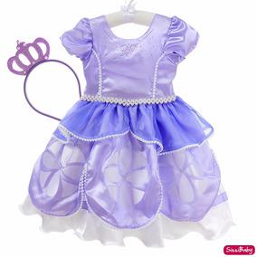 Vestido Princesa Sofia Festa Infantil Luxo Com Coroa Chique